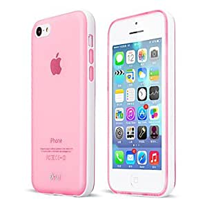 GJY Detachable Pc Frame Phone Protetive With Semi-Transparent Tpu Case Cover For Iphone 5C , Pink