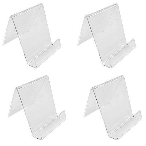 PROLINEMAX 4 Pc 4-1/2''H Clear Acrylic Book Clutch Bag Easel Literature Holder Rack Stand