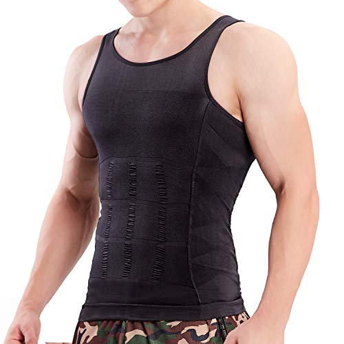 4bed3a1789b HÖTER Mens Slimming Body Shaper Vest Shirt Abs Abdomen Slim (TOP EDITION)