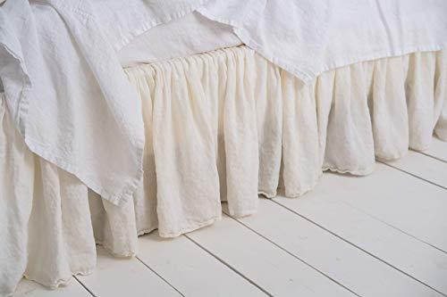 Ruffled Charm Skirt (Bed Skirt Farmhouse Decor Shabby Chic European Flax King Queen Ruffle Bed Skirts Dust Ruffle Linen Bedding Linen Ruffle Bedskirt)