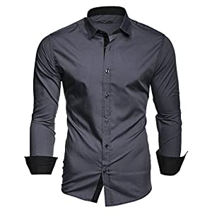 Kayhan Men´s Long Sleeve Casual Shirt Slim fit Easy Iron Modell – Twoface + London