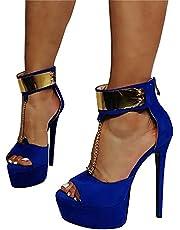 High Heels Damen Open Toe Plateau Stilettos Schnallenriemen Open Back High Heel Knöchel Party Sandalen