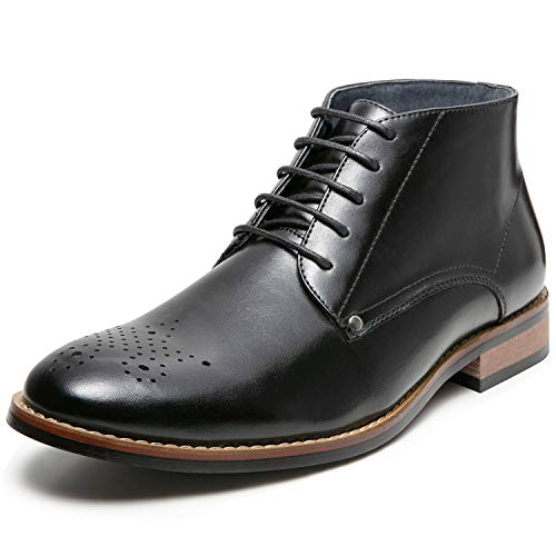 Men's Oxford Dress Leather Lined Cap Toe Angle Boots(12 M US,Black-6)