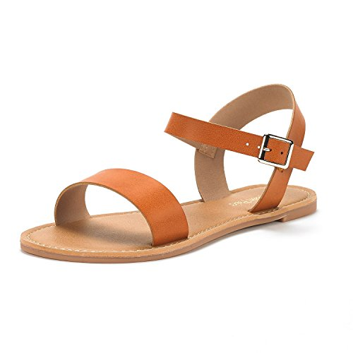 DREAM PAIRS Women's HOBOO-New Cute Open Toes One Band Ankle Strap Flexible Summer Flat Sandals TAN Size 7 ()
