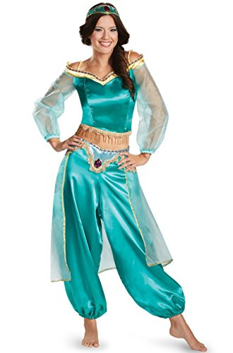 COSKING Jasmine Costume for Women, Deluxe Arabian Princess India Belly Dance Dress Blue