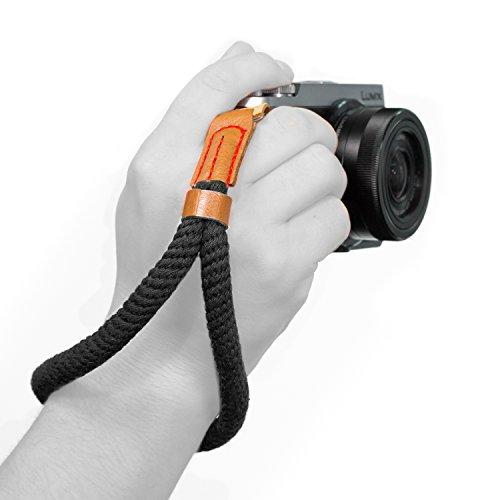 MegaGear Cotton Camera Hand Wrist Strap - Comfort Padding, Security for All Cameras (Black, Small - 23cm/9inc)