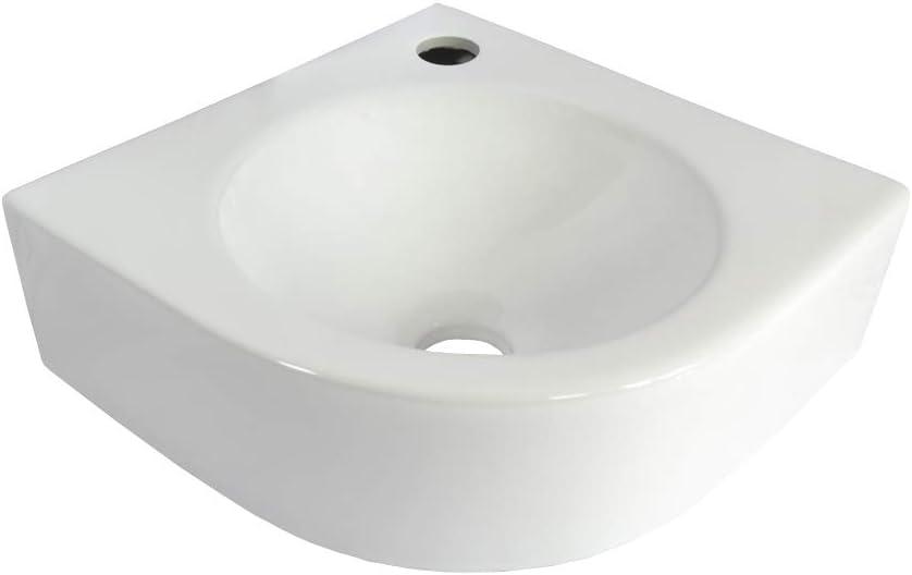 SS30 1 X lavabo angolare ceramica montaggio a parete ovale lavabo in ceramica sospeso lavabo bagno piccolo 30 cm L 30 cm B