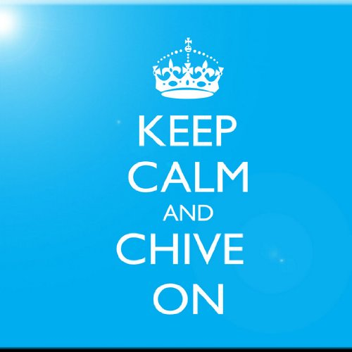 Rikki Knight Keep Calm and Chive on Sky Blue Color Design Art Ceramic Tile 4 by 4-Inch