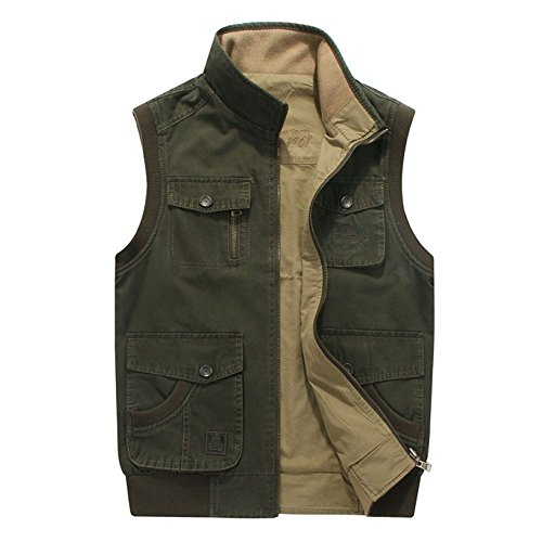 Dylbd m Uomo Da Allentato Cerniera Con Pocket green Cardigan Gilet Fashion Semplice Winter Multi Top RRr5H6q