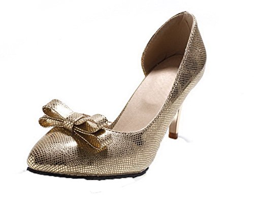 Pu Toe Kitten Gold WeiPoot Pointed EGHLH004696 Pull Heels Women's Sandals Closed On PttYq0Sw