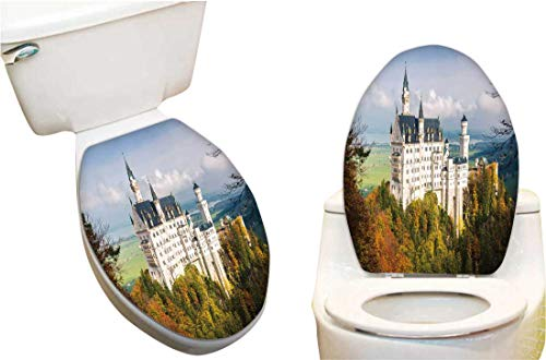 "Toilet Seat Decal The amaz Wonderful neuschw Stein Castle in The Bavaria Region in Germ y Toilet Vinyl Decal 13""x15.5"""