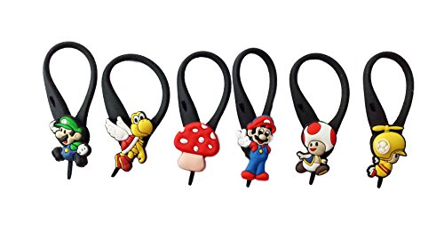 [AVIRGO 6 pcs Soft Zipper Pull Charms for Backpack Bag Pendant Jacket Set # 68-3 by TGC ?] (Mario Luma Costume)