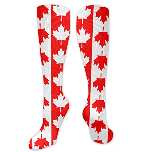 Canadian Flag Maple Leaf Canada Men & Women Knee High Socks Soft Boot Socks Cosplay Socks For Party Halloween School ()