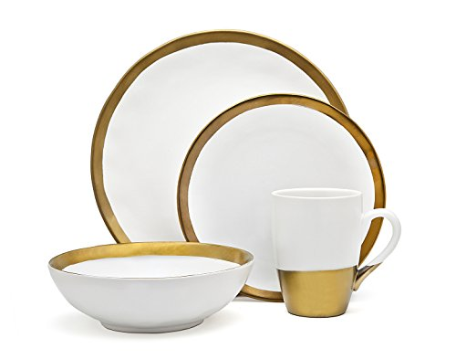 Godinger Terre Dor Dining Dinner Dinnerware Set White And Gold Porcelain - 4 pc Set (Dish And Set White Gold)