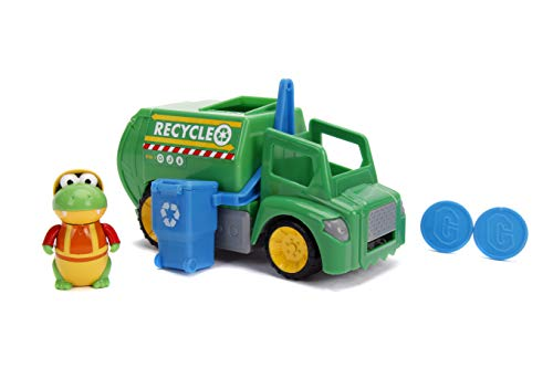 "Jada Toys Ryan's World Recycling Truck with Gus The Gummy Gator Figure, 6"" Feature Vehicle Green"