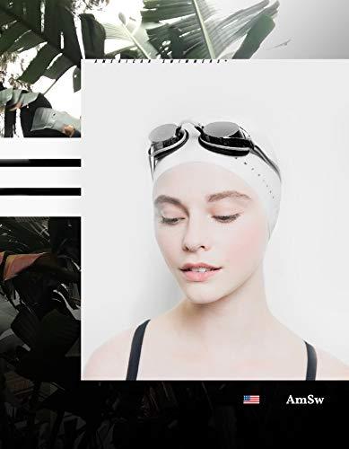 Professional Silicone Swim Cap - for Men and Women - 2019 Ultra Premium Edition - Ultra-Sleek Design/Wrinkle-Free/Extra Durability/Skin-Friendly (White) ()