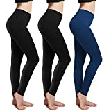 CHARMKING Fleece Lined Leggings Thick Brushed Ultra Soft Premium Warm High Waist Elastic and Slimming Tights for Women (3 Pack Assorted-1)