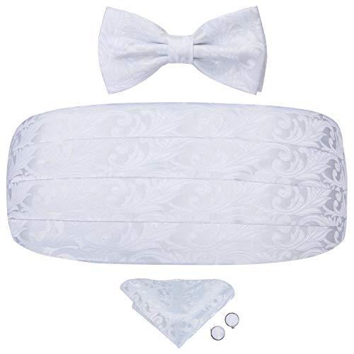Dubulle White Cummerbund for Men with Tuxedo Bowtie Pocket Square Set