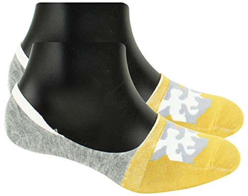 Neska Moda Men #39;s 1 Pair Grey and Yellow No Show Loafer Socks ON03