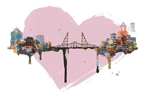 Hawthorne Bridge in Portland, Oregon Travel Art Print Poster by Ursula Barton (12