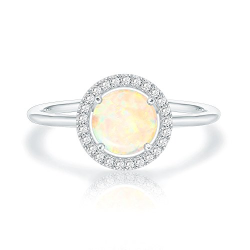 Swarovski Crystal 14K White Gold Plated Birthstone Rings | White Gold Rings for Women | Opal Ring