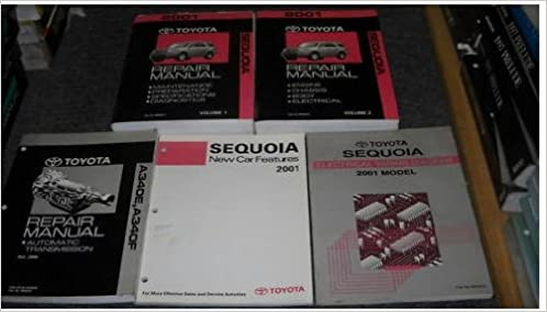 2001 toyota sequoia service shop repair manual set 01 (2 volume set, electrical  wiring diagrams manual, automatic transaxle manual, and the new car  features