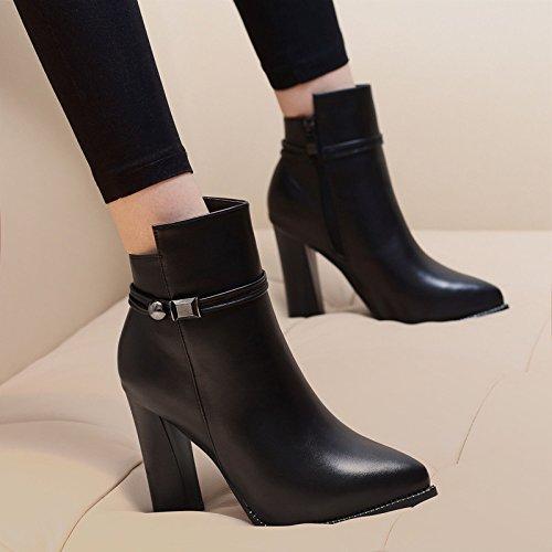 Bottom Thirty Black Heel Boots Sharp Cashmere High Thick And Boots KHSKX Boots English eight Bare Winter New Heel Female Female Martin E4wzqIH0x
