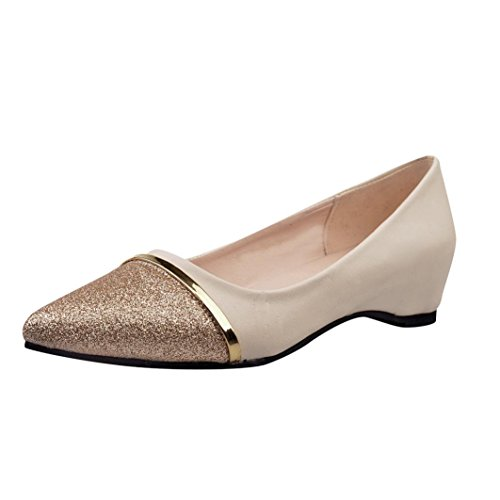 (SUKEQ Women's Pointed Toe Loafer Flats Classic Slip On Ballet Shoes Metallic Slide Leather Driving Shoes Low Heel Dress Loafer (7.5 B(M) US, Beige))