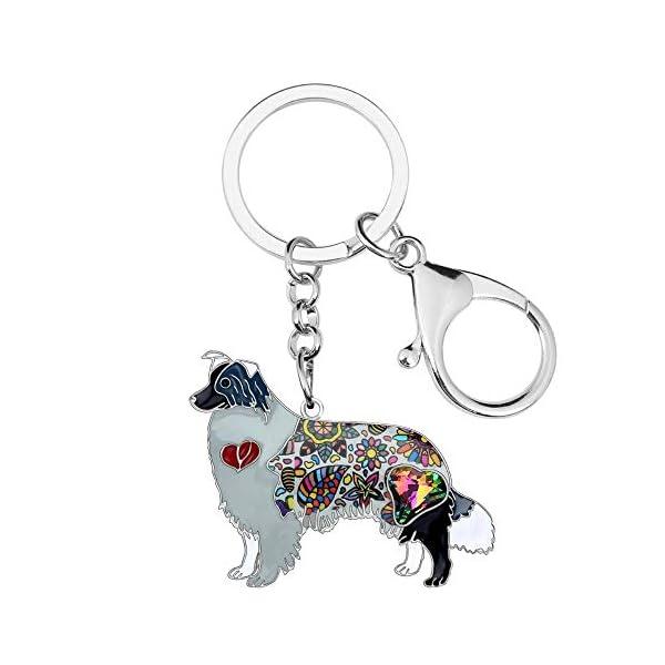 Collie Keychain Rhinestone Border Collie Key Chains Unique Dog Pendant Animal Pet Jewelry Bag Purse Charm for Women & Girls Valentine Gifts 4
