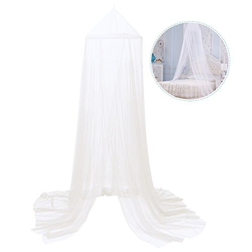 Mosquito Net Canopy, 2 Layer Polyester Grenadine Dome Princess Bed Tents Dreamy Childrens Room Decorate for Baby Kids Reading Play Indoor Games House (White)