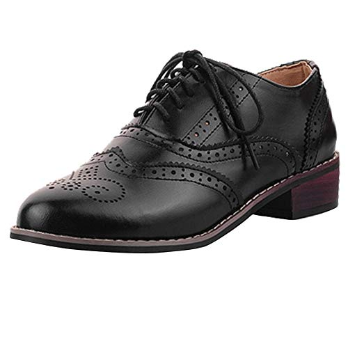 c460e6cb17 Cicime Womens Oxfords Lace-up Wingtip Black Oxfords Perforated Flat Brown Oxford  Shoes Brogues