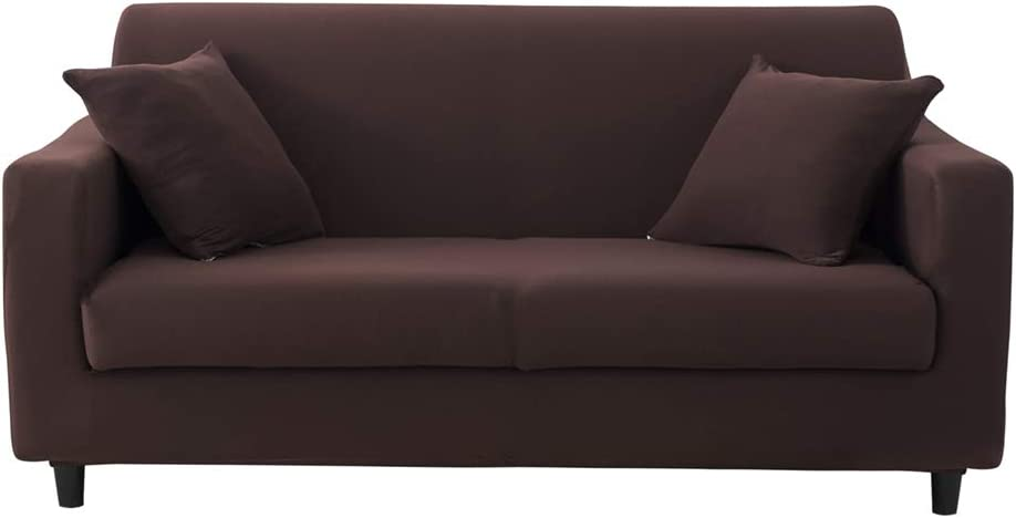 HOTNIU 1 Piece Printed Stretch Sofa Cover Elastic Polyester Spandex Couch Covers, Universal Fitted Sofa Slipcover for Sofa Furniture Protector (4 Seat, Coffee)
