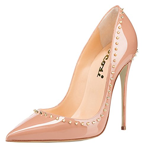 Pumps VOCOSI Dress 13 Pointed Slip US P Toe Shoes On Nude High Sexy Rivets Women's Heel Stiletto wzPwrWZqY