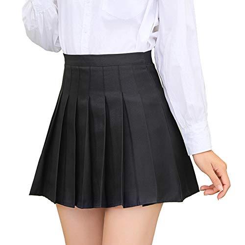 ZZLBUF Women Casual Pleated Hem Skirt, High Waist Solid Color/Plaid Pattern Miniskirt