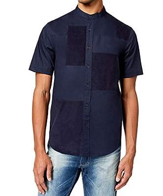 Sean John Mens Medium Banded Collar Patch Work Shirt Blue M