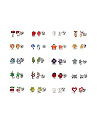 20 PAIRS Enamel Earrings for Little Girls Owl Fox Bee Flower Tree Leaf Turtle Cherries Frog Heart Earings