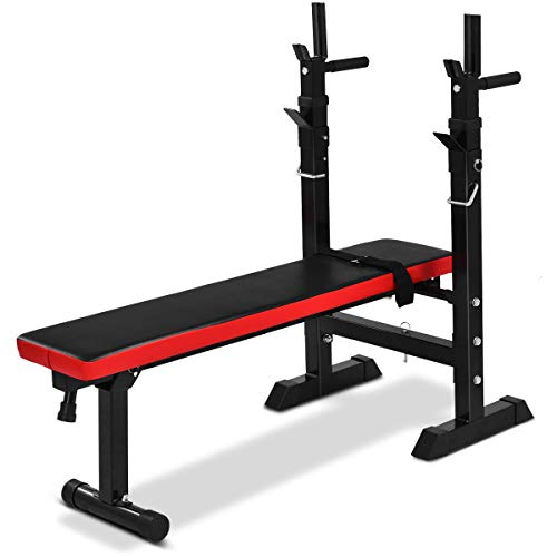 Goplus Adjustable Foldable Weight Lifting Flat Bench Rack