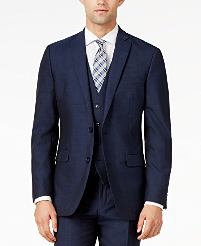 Bar III Mens Wool Slim Fit Two-Button Blazer Blue (Three Button Wool Blazer)