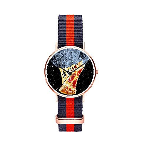 Customized Universe Pie Wrist Watch, Blue Red Blue Nylon Watch Band Rose Gold Dial Plate Women 36mm Fashionable Wrist Watch for Women