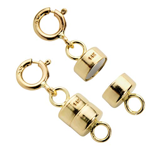 Everyday Elegance Jewelry 14K Yellow Gold Round Magnetic Clasp Converter for Necklace or Bracelet with Spring Ring, 2 -
