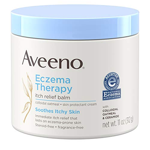 Aveeno Eczema Therapy Itch Relief Balm with Colloidal Oatmeal & Ceramide for Dry Itchy Skin, Non-Greasy, Steroid-, Fragrance- & Paraben-Free Moisturizing Skin Protectant Cream, 11 oz (Ointment Eczema)