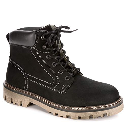 AM Shoes Mens Warm Lined Leather Lace Up Boot Shoes, Black/Dark Grey, US 9 (Combat Boots Lined Leather)
