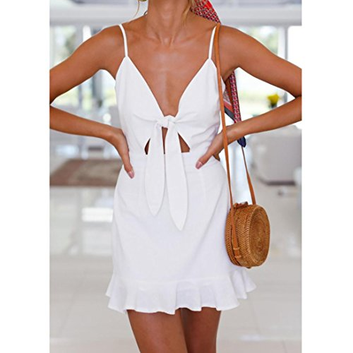 dames Femmes Beach Mini Bowknot ourlet Summer Party Ansenesna Blanc Robe Frill Holiday Aw7wFX