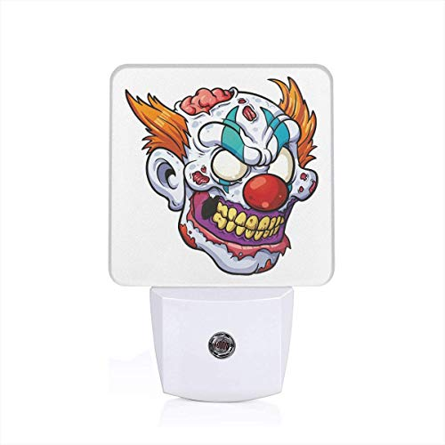 Colorful Plug in Night,Zombie Clown Head in Cartoon Style Evil Monster with Scars Halloween Horror Mascot,Auto Sensor LED Dusk to Dawn Night Light Plug in Indoor for Childs Adults]()