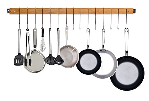 JackCubeDesign Bamboo Wall Mount Gourmet Kitchen Pot Rack Hanging Bar Utensil Pan Hanger Storage Organizer with 15 Hooks - MK420A
