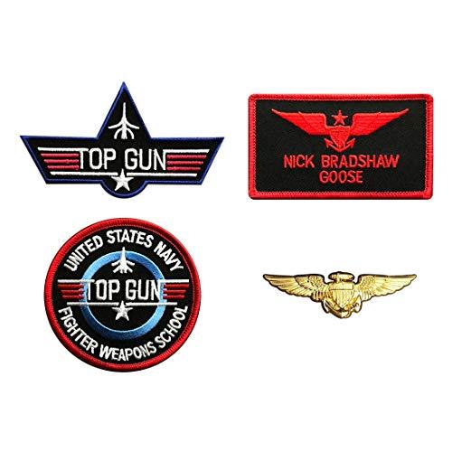 Goose Nick Top Gun Movie School Costume Iron on Patch (4pc With Pilot Aviator Wings Pin)