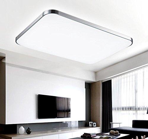 ETiME® LED Deckenleuchte 48W Deckenlampe Modern Wohnzimmer Lampe Kaltweiss  Schlafzimmer Küche Panel Leuchte 3000K Silber (65x43cm 48W Kaltweiß)