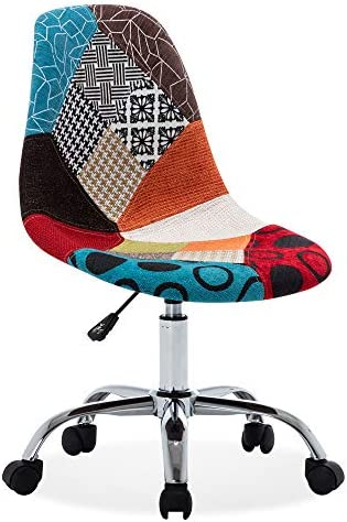 BELLEZE Armless Mid-Back Task Office Chair Linen Upholstery Height Adjustable Swivel, Multi Color