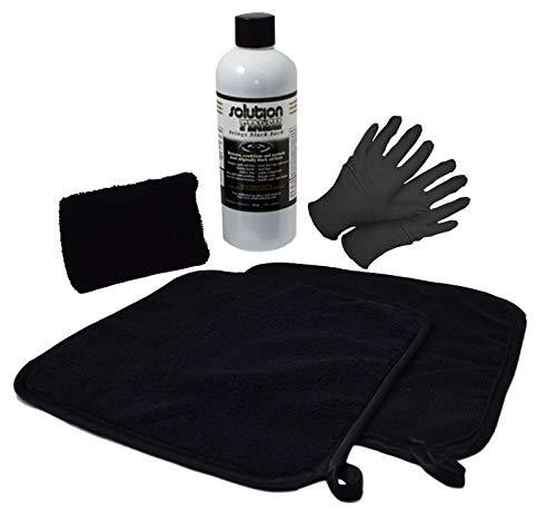 (Solution Finish FULL INSTALLATION KIT: 12 oz Black Plastic Trim Restorer SUPER SIZE 12 oz + 2 Microfiber Towels + Applicator Sponge + Gloves)