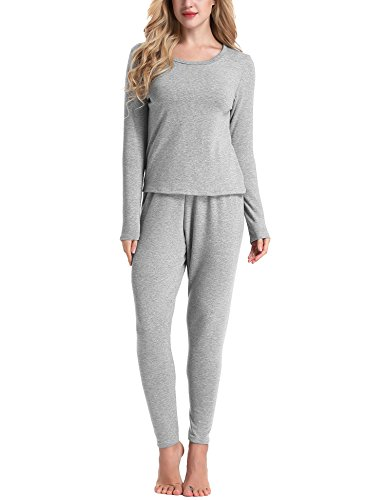 Cotton Thermal Sleepshirt (Yulee Women's Scoop Neck Soft Cotton Shirt/Pants 2PC Thermal Set Base Layer)